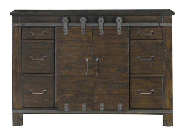 Pine Hill Transitional Rustic Pine Wood Media Chest MG-B3561-36