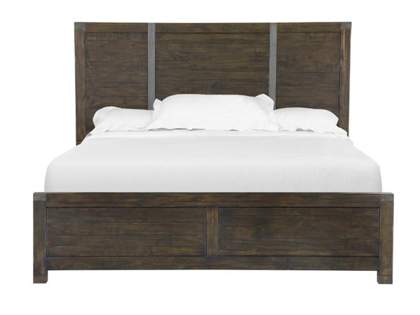 Pine Hill Transitional Rustic Pine Wood King Panel Bed MG-B3561-64
