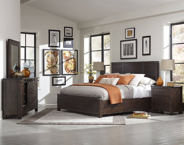 Pine Hill Transitional Rustic Pine Wood Master Bedroom Set MG-B3561-BR
