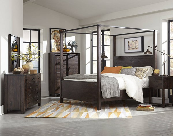 Pine Hill Rustic Pine Wood 2pc Bedroom Set W/Cal King Poster Bed MG-B3561-BR-S9