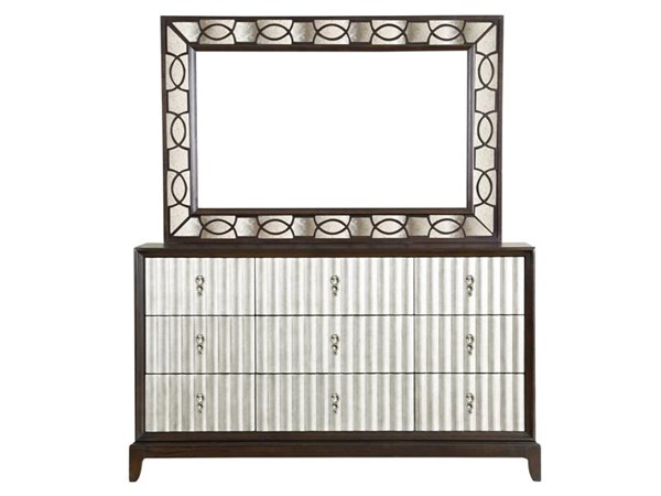 Gramercy Transitional Sable Antique Silver Wood Glass Dresser & Mirror MG-B3564-DRMR