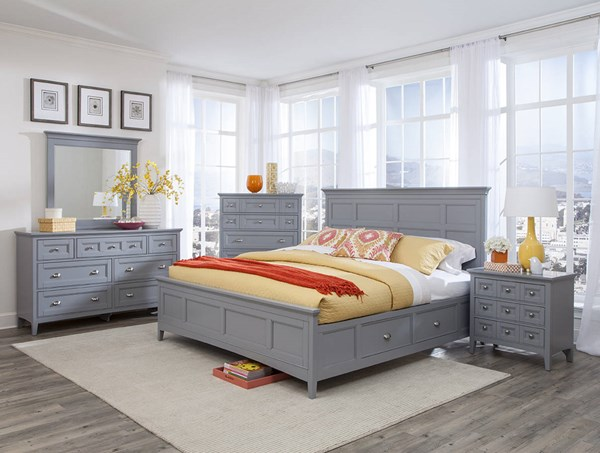 Graylyn Grey MDF Wood 2pc Bedroom Set W/Cal King Panel Storage Bed MG-B3572-BR-S6