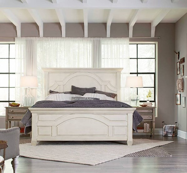 Hancock Park White MDF Wood 5pc Bedroom Set W/Cal King Panel Bed MG-B3681-BR-S6