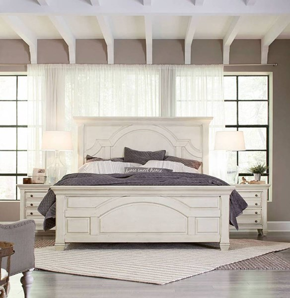 Hancock Park Traditional Oak Vintage White MDF Wood 5pc Bedroom Sets MG-B3681-BR-S-VAR1
