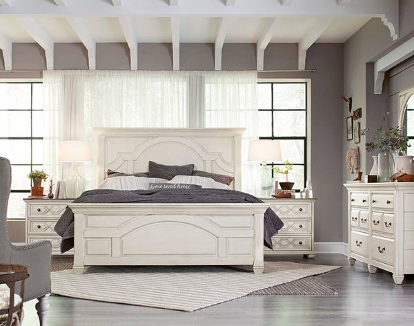 Hancock Park Oak MDF Wood 5pc Bedroom Set W/Queen Panel Bed MG-B3681-BR-S7