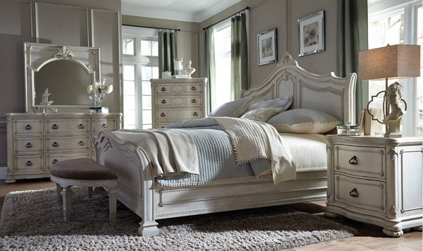 Davenport Weathered White Wood 5pc Bedroom Set w/King Sleigh Bed MG-B3787-BR-S2