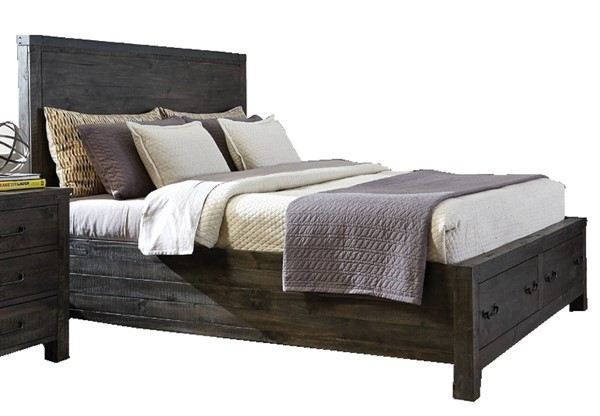 Abington Weathered Charcoal Wood King Panel Bed Storage Footboard MG-B3804-65F