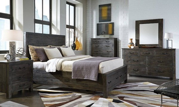 Abington Charcoal Wood 2pc Bedroom Set W/King Panel Storage Bed MG-B3804-BR-S5