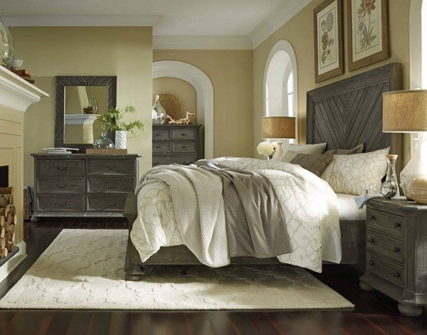 Cheswick rustic grey solid wood master bedroom set bedrooms the classy home best deal for Grey wood bedroom furniture set
