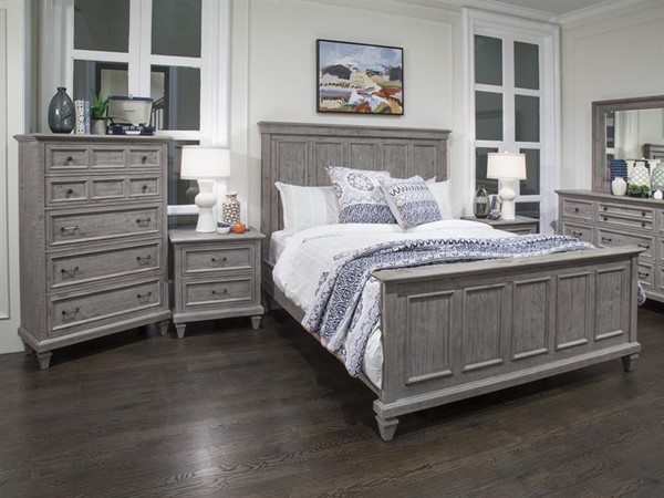 Lancaster Rustic Dove Tail Grey Pine Solid Wood Master Bedroom Set MG-B4352-BR