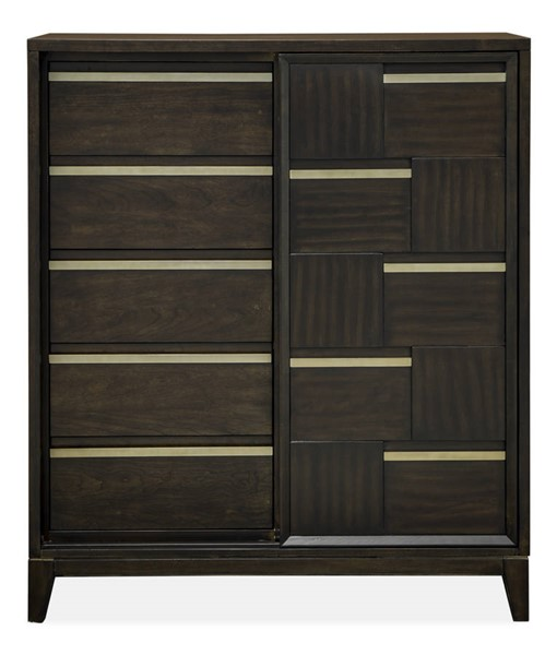 Magnussen Home Modern Geometry French Roast Sliding Door Chest MG-B4769-13