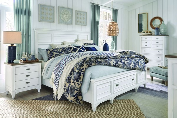 Magnussen Home Alys Beach White 2pc Bedroom Set with Cal King Storage Bed MG-B4864-BR-S14