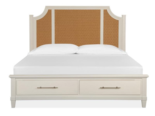 Magnussen Home Lola Bay Seagull White Arched Woven Storage Beds MG-B5003-AWOSBEDS