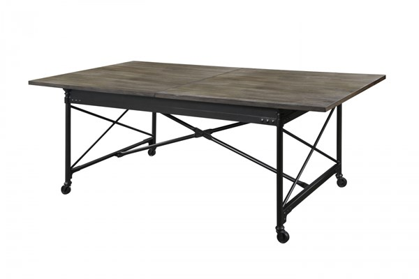 Walton Transitional Natural Wood Rectangular Dining Table w/Casters MG-D2469-20