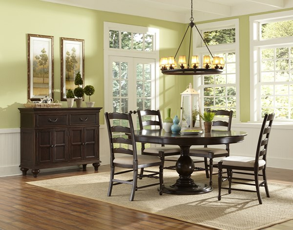 Loren Transitional Deep Cherry Wood 5pc Dining Room Set w/Round Table MG-D2470-DR-S4