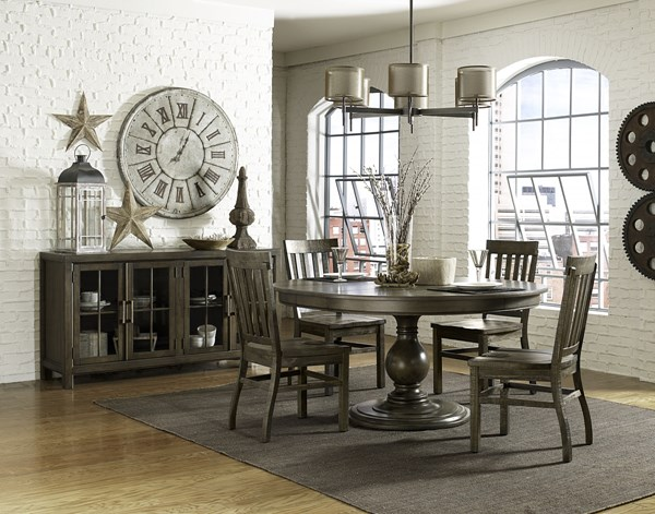 Karlin Dry Grey Acacia Wood 5pc Dining Room Set w/Round Table MG-D2471-DR-S2