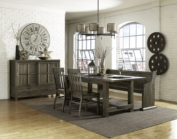 Karlin Transitional Dry Grey Acacia Wood 4pc Dining Room Set w/Bench MG-D2471-DR-S3