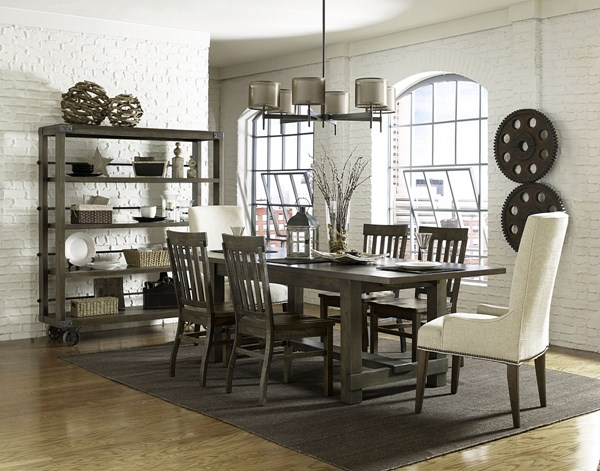 Karlin Dry Grey Acacia Wood 7pc Dining Room Set W
