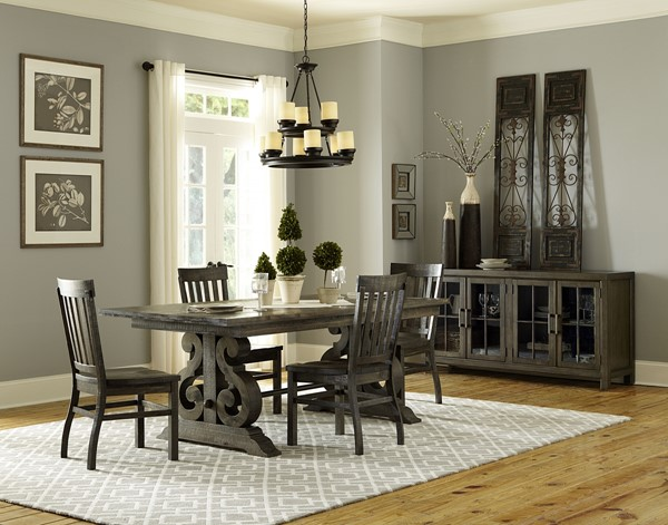 Bellamy Traditional Deep Weathered Pine Wood 5pc Dining Room Set MG-D2491-DR-S1
