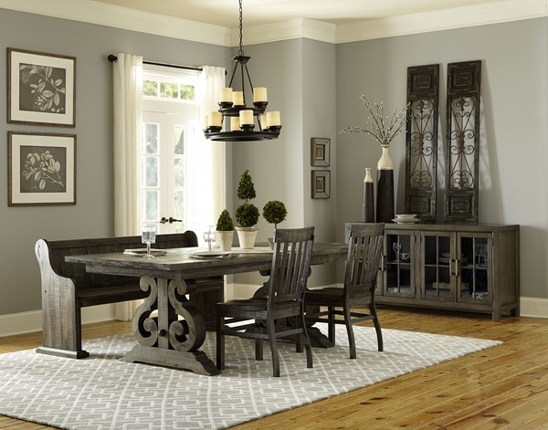 Bellamy Traditional Deep Weathered Pine Wood Dining Room Set MG-D2491