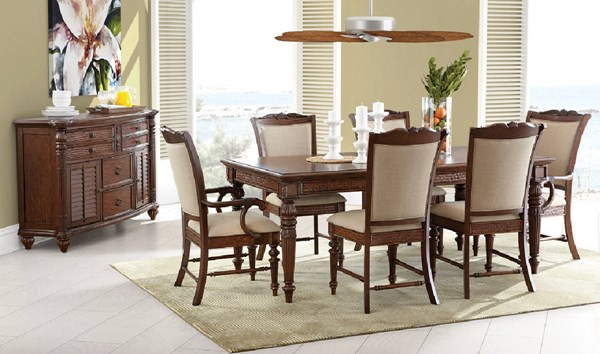 Key West Traditional Sienna Wood Fabric 7pc Dining Room Set MG-D3069-DR-S1