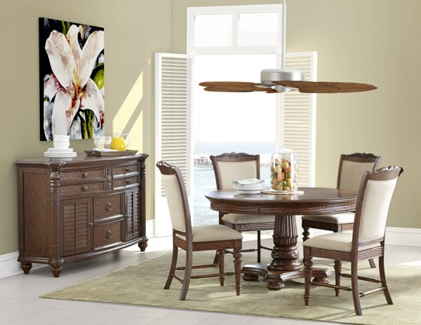 Key West Traditional Sienna Wood Fabric 5pc Dining Room Set MG-D3069-DR-S2