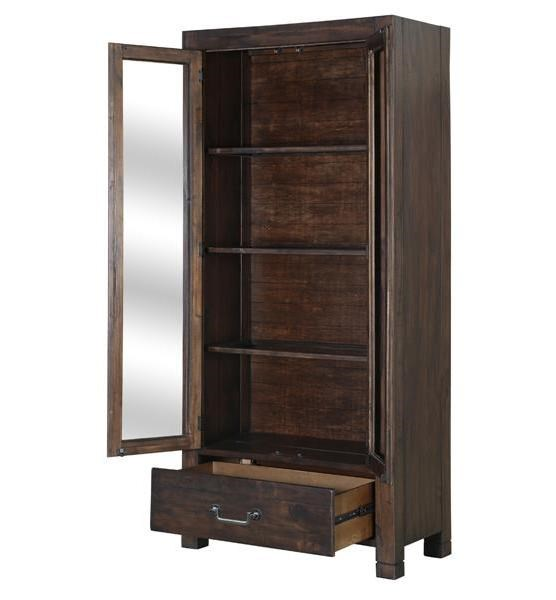 Pine Hill Transitional Rustic Pine Wood Curio Cabinet MG-D3561-04