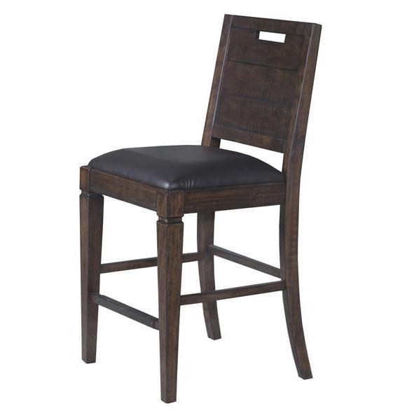 2 Pine Hill Rustic Pine Wood PU Upholstered Seat Counter Chairs MG-D3561-82