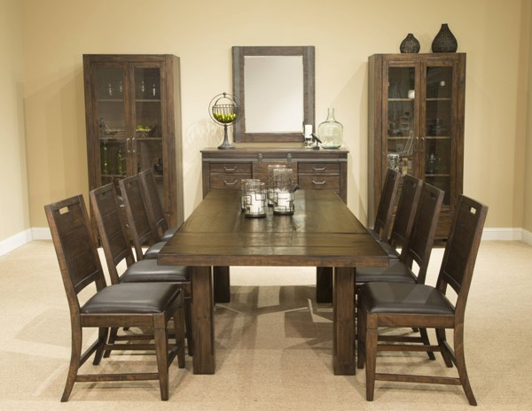 Pine Hill Transitional Rustic Pine Wood PU 9pc Dining Room Set MG-D3561-DR-S2