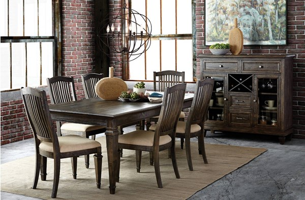 Sutton Place Coastal/Cottage Charcoal Wood Fabric 7pc Dining Room Set MG-D3612-DR-S1