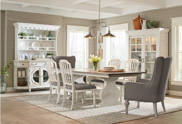 Hancock Park Oak Vintage White Wood Fabric MDF 7pc Dining Room Set MG-D3681-DR-S2