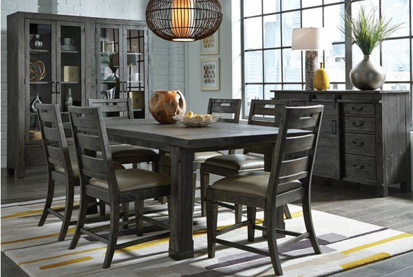 Abington Transitional Charcoal Wood PU Dining Room Set MG-D3804-DR