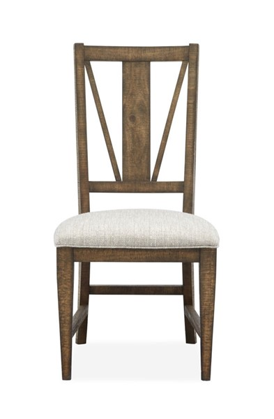 2 Magnussen Home Bay Creek Toasted Nutmeg Baja Fog Upholstered Dining Side Chairs MG-D4398-62