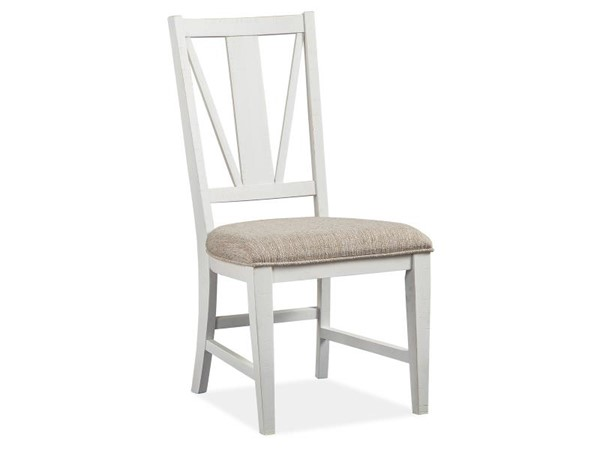 2 Magnussen Home Heron Cove White Baja Fog Upholstered Dining Side Chairs MG-D4400-62
