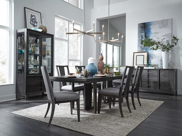 Magnussen Home Proximity Heights Cushion Chair And Sled Leg Base 7pc Dining  Room Set