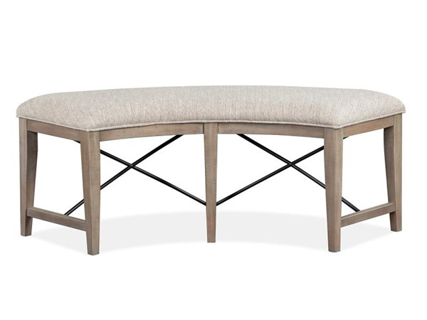 Magnussen Home Paxton Place Dovetail Grey Baja Fog Upholstered Curved Bench MG-D4805-67
