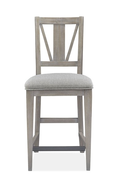 2 Magnussen Home Paxton Place Dovetail Grey Baja Fog Upholstered Counter Chairs MG-D4805-82