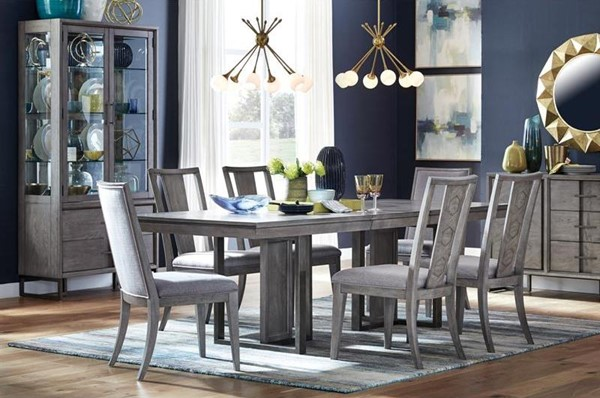 Magnussen Home Serenity Park Cashmere Grey 7pc Dining Room Set with Fully Upholstered Chair MG-D4876-DR-S2