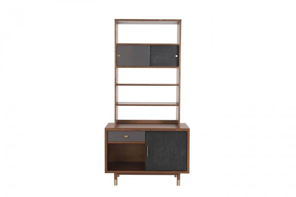 Pace Walnut Black Oak MDF Wood Metal Etagere Hutch MG-DA-9031-66H