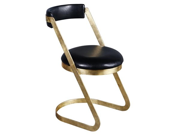 Farrah Antique Gold Faux Leather Metal Dining Chair MG-DD-9004-66