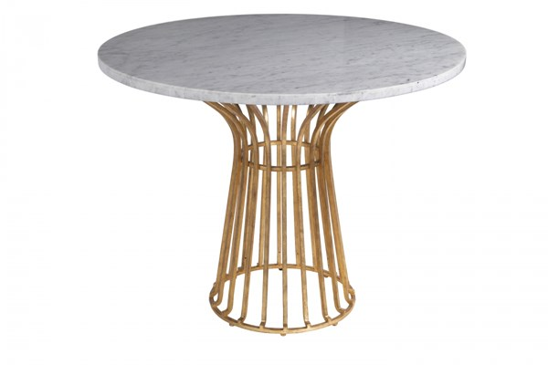 Baldwin Modern Antique Gold White Stone Round Cocktail Table Top MG-DD-9049-22T