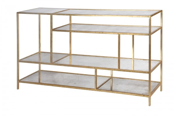 Mansfield Modern Gold MDF Metal Glass Media Console MG-DE-9001-06