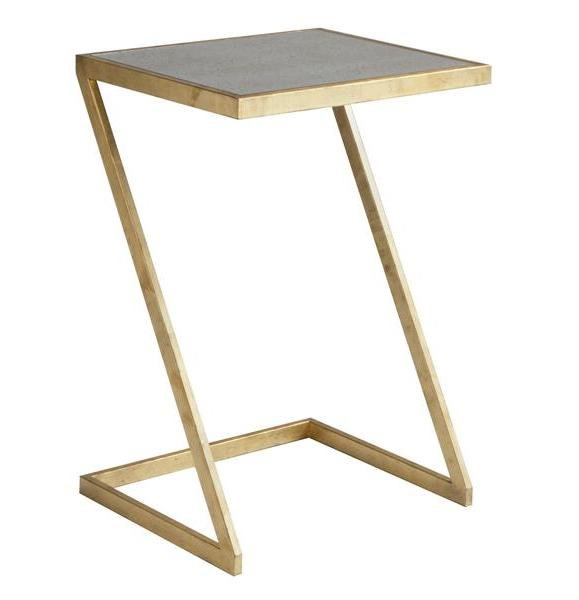 Mansfield Modern Antique Gold Metal Side Table w/ Antique Mirror MG-DT-9001-22A