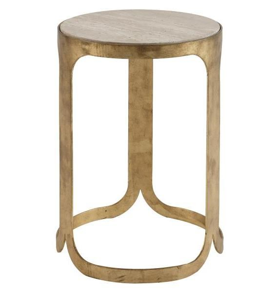 Bennett Modern Antique Gold Stone Metal Round End Table MG-DT-9002-05