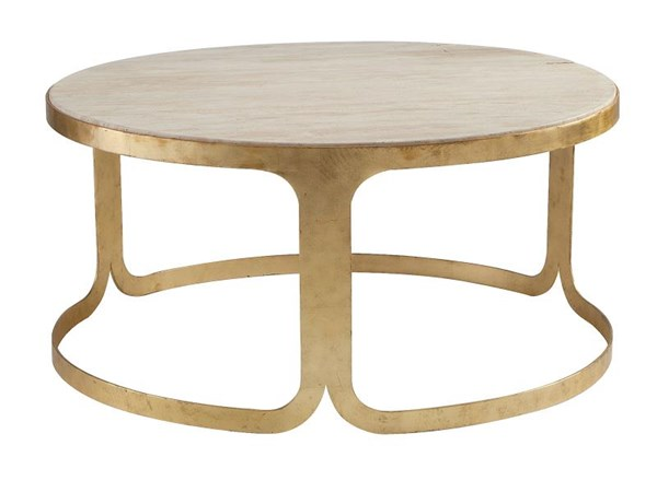 Bennett Modern Antique Gold Stone Metal Round Coffee Table MG-DT-9002-45