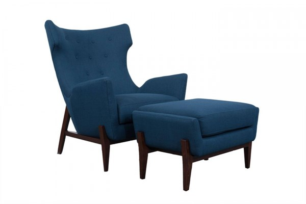 Lindstrom Navy Blue Wood Fabric Chair & Ottoman Set MG-DU9052-CHO-S1
