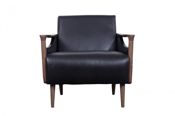 Vaughn Traditional Black Walnut Wood Carbon Leather Charcoal Chair MG-DU9054-85-096
