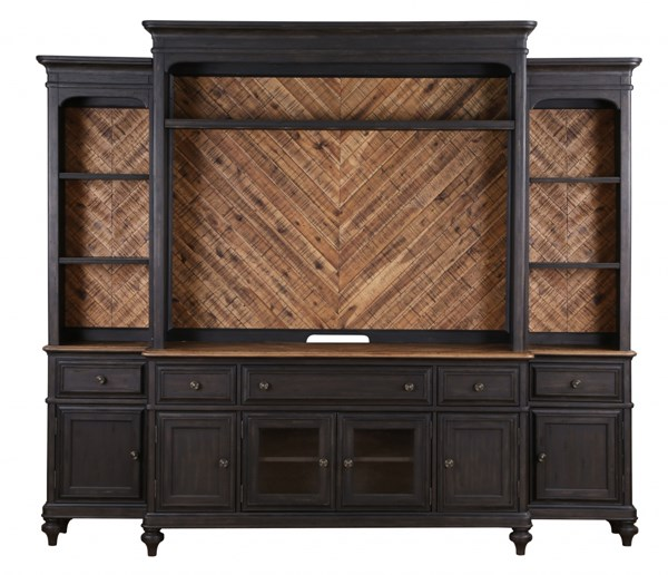 Barnhardt French Black Natural Acacia Wood Entertainment Wall Unit MG-E2588-ENT-S1