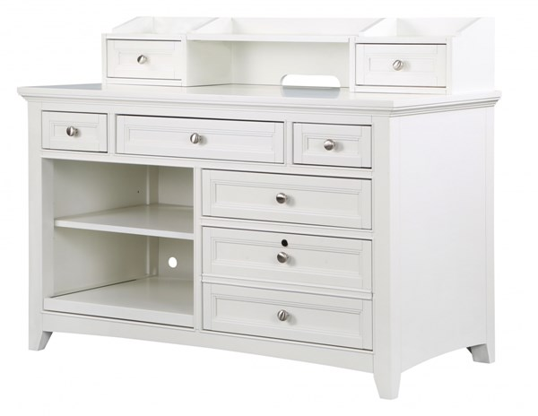 Kentwood Cottage Pristine White Wood Credenza w/Hutch MG-H1475-30-31