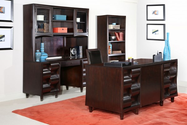 Fuqua Modern Black Cherry Wood Office Furniture Set MG-H1794